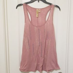 Pastel Rose Pink Tank Top with stud Embellishment